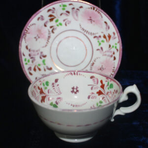 1840s Pink Floral Cup and Saucer – delicate pastels, xlnt condition