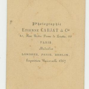 Etienne Carjat CDV- rare image – subject id'd on reverse