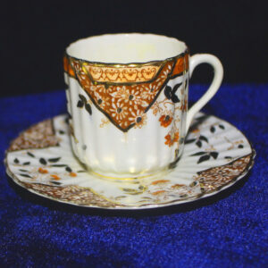 1890 Childs Porcelain Tea Cup & Saucer – fluted cup, scalloped edges