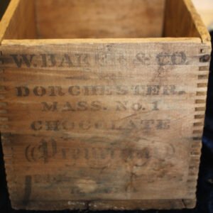 Wooden Advertising Box – Baker Chocolate, Dorchester, MA – an oldie!