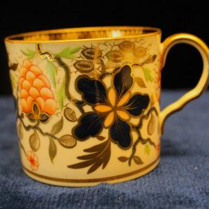 Antique Coalport Childs Mug – rich enamel decoration in cobalt, green+