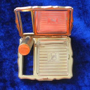 Vintage Stratton Cobalt & Floral Lipstick & Powder Compact – stunning