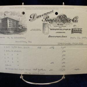 1933 Davenport, IA Bags & Paper Receipt – great logo!