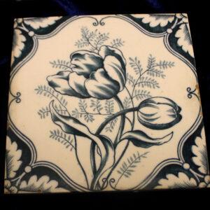 Antique English Delft Porcelain Tile – gorgeous floral pattern
