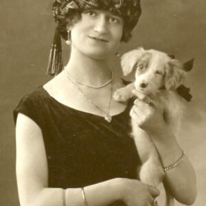 1920s Young Woman with Puppy – flapper era, hat, jewelry, too cute!