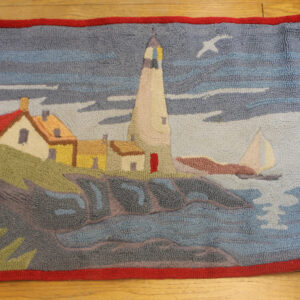 Vintage Hand Hooked Rug – New England flair – lighthouse and more