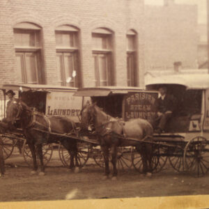 19th Century Steam Laundry – horse drawn wagons, employees, more