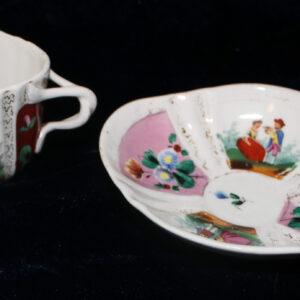 "Antique Porcelain ""R"" Teacup and Saucer – unusual design & pattern"