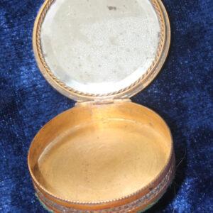 19th Century Patchbox – handpainted woman, enameling, mercury mirror