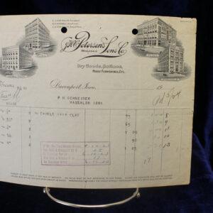 1923 Dry Goods, Notions, House Furnishings Receipt – Davenport, IA