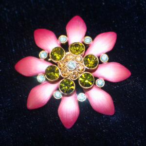 Vintage Pink Enamel and Multi-Color Rhinestone Brooch – sparkle +