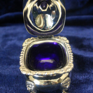 English Footed & Hinged Salt Cellar with Cobalt Liner, Lion Feet
