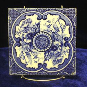 Antique English Blue and White Tile – rich cobalt blue coloring