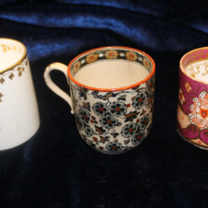 Trio of Antique English Childrens Porcelain Mugs – rare pattern & color