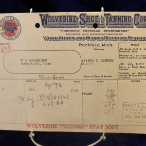 1933 Wolverine Shoe & Tanning Receipt – workshoes, tanners, gloves