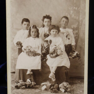 19th Century Cabinet Photo – identified children in white, Jumeau doll