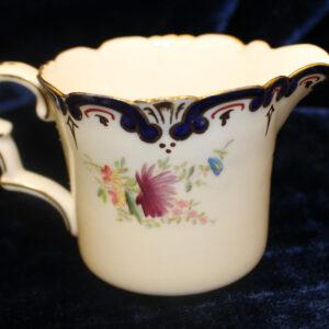 Antique Cobalt & Floral Porcelain Creamer – 1895, hand painted, see thru