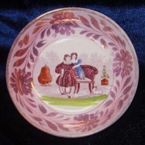 1815 Dawson Sunderland Pink Lustre Tea Bowl – two girls, dog