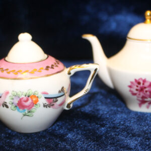 Childs Mini Teapots – one handpainted & artist signed, Caverswall, England