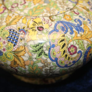 Antique Paisley-Style Transferware Teapot – multi-colored, 2 cup, clean