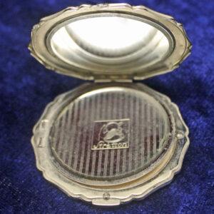"Vintage English ""Stratton"" Silver Compact With Unique Raised Design"