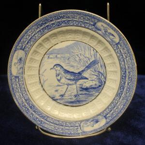 Antique Childs Plate – transferware bird, 1889