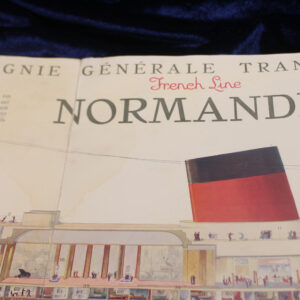 """French Ocean Liner """"Normandie"""" RARE Fold-out Brochure – maritime history"""