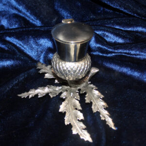 Vintage Figural Ink Well – glass insert, hinged lid, very heavy