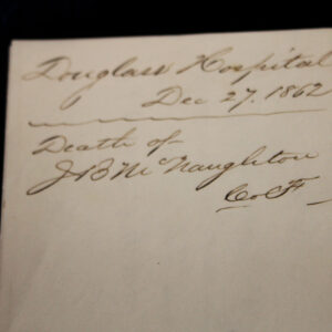 Civil War Soldier Document – Company F, 108th NY, Wounded at Fredericksburg, VA